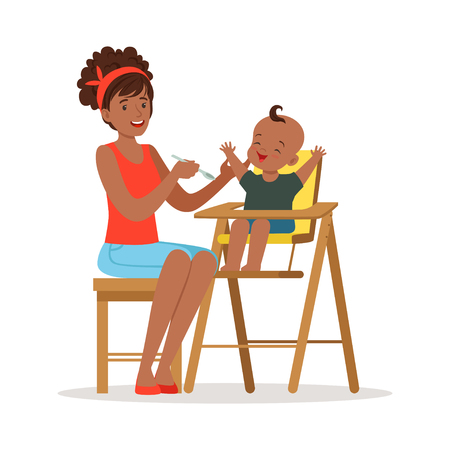 Happy young african mother feeding her baby in highchair, colorful vector Illustration