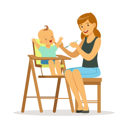 Happy young mother feeding her baby in highchair, colorful vector Illustration