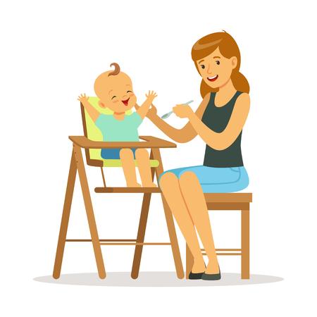 Wszystkiego najlepszego z okazji matka młodych karmienia jej dziecko w highchair, kolorowe ilustracji wektorowych