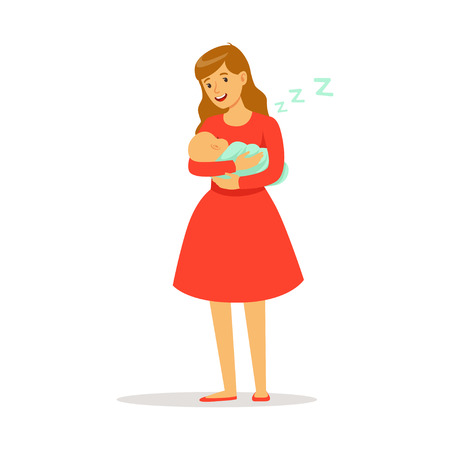 Beautiful young mother in red dress rocking her newborn baby to sleep colorful vector Illustration