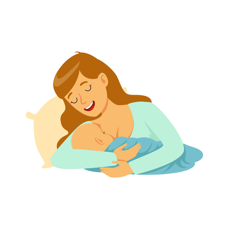 Young happy mother lying in the bed and breastfeeding her baby with breast milk, colorful vector Illustration