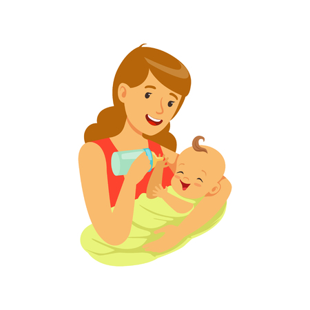 Happy mother holding her baby and feeding with milk bottle colorful vector Illustration