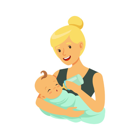 Happy blonde mother holding her bonded baby and feeding with milk bottle colorful vector Illustration
