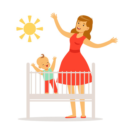 Little baby is in the crib woke up in the morning, mother and little baby in the bedroom enjoying the sun colorful vector Illustration