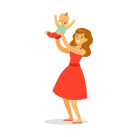 Beautiful young mother in red dress with her adorable baby playing and having fun together colorful vector Illustration