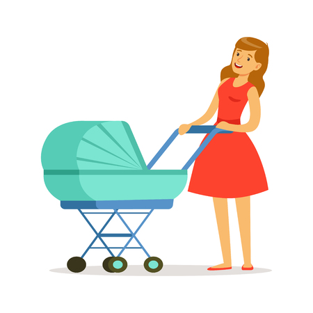 Beautiful young mother in red dress walking with her newborn baby in a blue pram colorful vector Illustration Ilustração