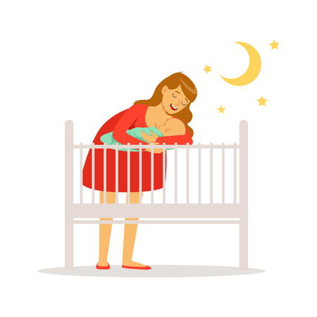 Young mother in red dress putting her newborn baby to bed colorful vector Illustration Stock Illustratie