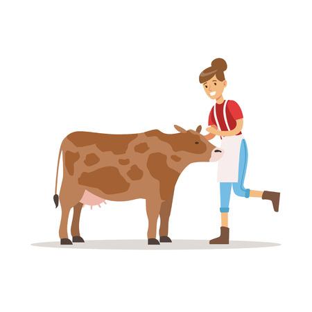 Landbouwersvrouw die voor haar koe, de landbouw en landbouw vectorillustratie geven