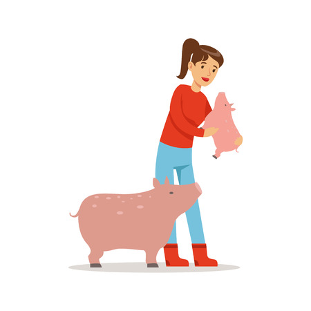 Farmer woman caring for her pigs, farming and agriculture vector Illustration Illustration