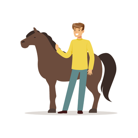 Farmer man caring for his horse, farming and agriculture vector Illustration Stock Vector - 83237411