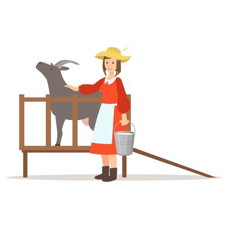 Boer vrouw die haar geiten, landbouw en landbouw vector melk melkt Illustratie Stock Illustratie