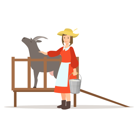 Farmer woman milking her goat, farming and agriculture vector Illustration Illustration