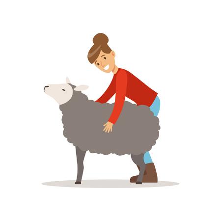 Landbouwersvrouw die voor haar schapen, de landbouw en landbouw vectorillustratie geven