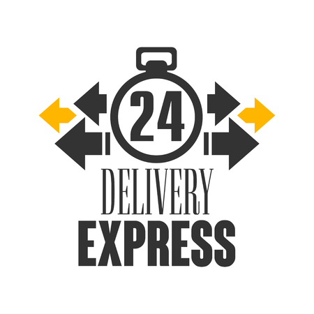 Express delivery 24 hours logo design template, vector Illustration on a white background Stock Vector - 83237418