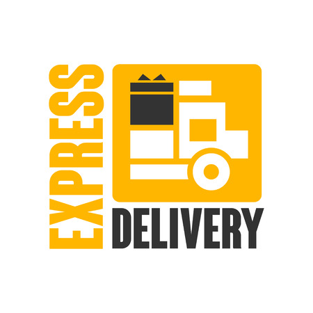 Express delivery logo design template, black and yellow vector Illustration on a white background Stock Vector - 83237423