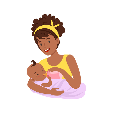 Young black mother breastfeeding her baby with milk, colorful vector Illustration
