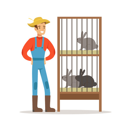Glimlachende landbouwer die zich naast konijnkooien, de landbouw en landbouw vectorillustratie bevinden Stock Illustratie