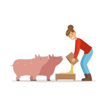 Farmer woman feeding pigs, farming and agriculture vector Illustration