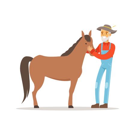 Oude landbouwersmens die voor zijn paard, de landbouw en landbouw vectorillustratie geven