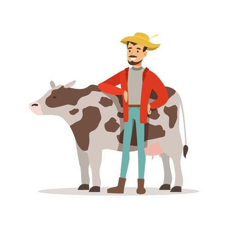 Landbouwersmens die voor zijn koe, de landbouw en landbouw vectorillustratie geven