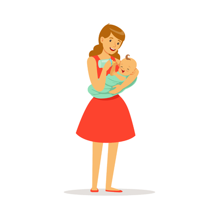 Beautiful young mother in red dress holding her baby and feeding with milk bottle colorful vector Illustration