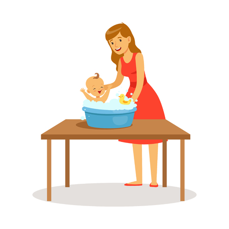 Happy mother in red dress washing little baby, kid playing with foam bubbles colorful vector Illustration