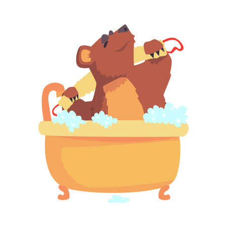 Cute cartoon bear taking a bath washing its body with washcloth, brown bear washing in foamy bathtub colorful character, animal grooming vector Illustration Illustration