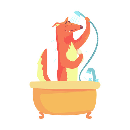 Cute cartoon fox taking a shower, red fox washing in a bathtub colorful character, animal grooming vector Illustration