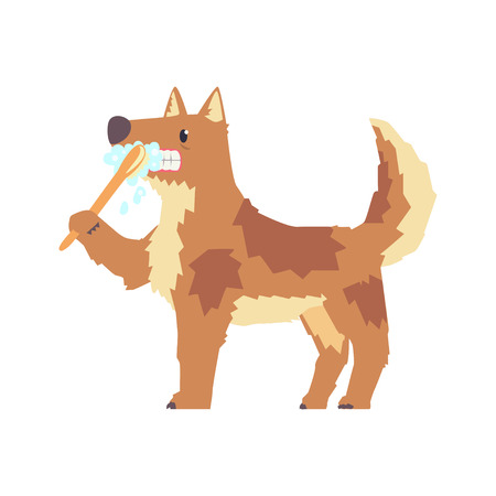 치아 브러쉬 및 붙여 넣기 다채로운 문자, 애완 동물 손질 벡터 일러스트와 함께 칫 솔 질하는 귀여운 만화 개