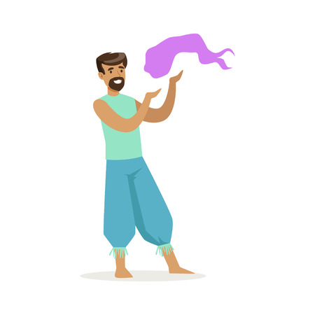 Indian man in a blue national costume performing national dance, colorful character vector Illustration