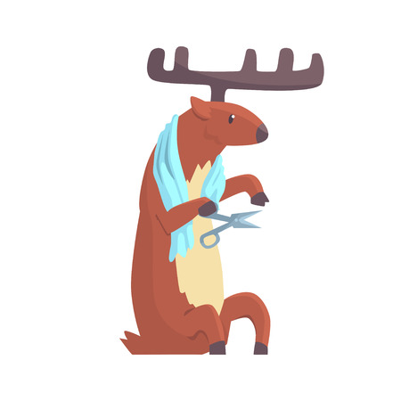Cute cartoon deer cutting his nails colorful character, animal grooming vector Illustration Çizim