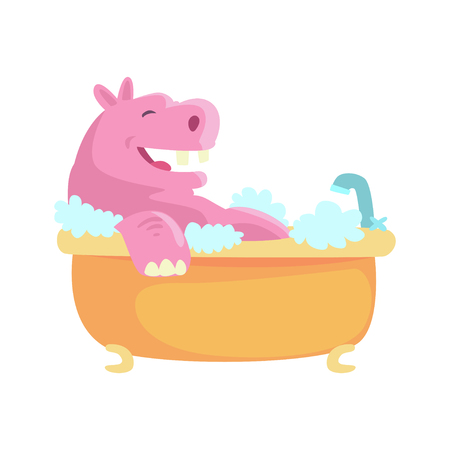 Cute cartoon hippo taking a bath, pink hippopotamus washing in foamy bathtub colorful character, animal grooming vector Illustration