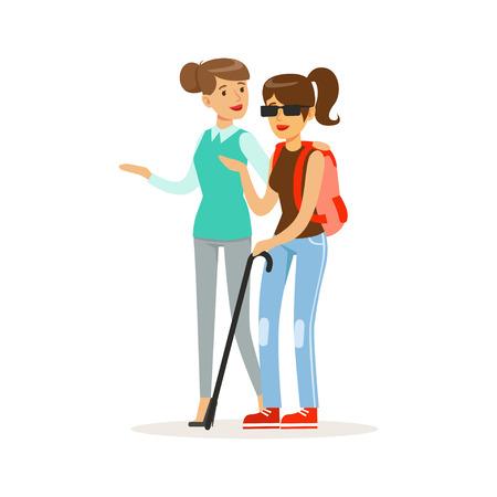 Glimlachende vrouwelijke vrijwilligers helpende en ondersteunende blinde, gezondheidszorghulp en toegankelijkheids kleurrijke vectorillustratie