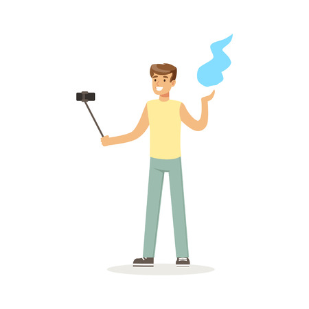 Young man in casual clothes making selfie with a selfie stick while dancing Indian dance colorful character vector Illustration Illustration