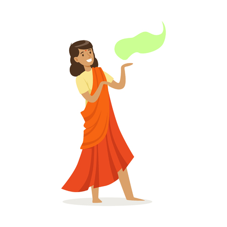 Beautiful Indian woman in an orange sari dancing national dance, colorful character vector Illustration