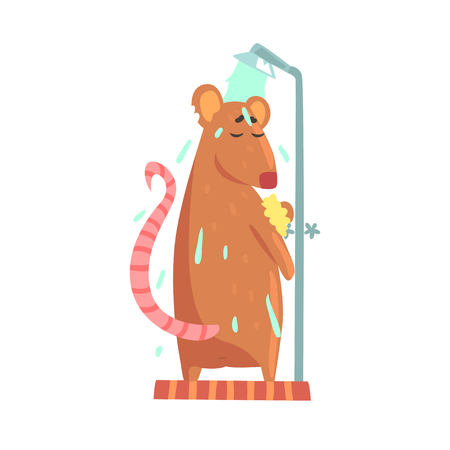Cute cartoon rat rubbing himself a foam sponge bath while standing in shower cabin colorful character, animal grooming vector Illustration