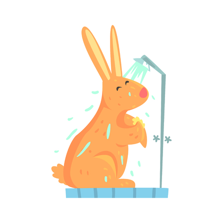 Cute cartoon bunny rubbing himself a foam sponge bath while standing in shower cabin colorful character, animal grooming vector Illustration