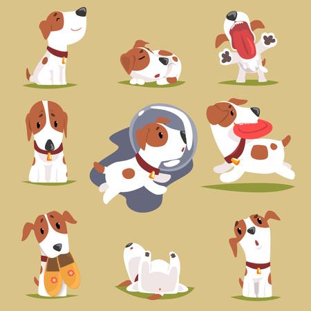 Filhote de cachorro pequeno bonito em seu conjunto de atividade todos os dias, vetor de caráter colorido engraçado de rotina diária de cães ilustrações
