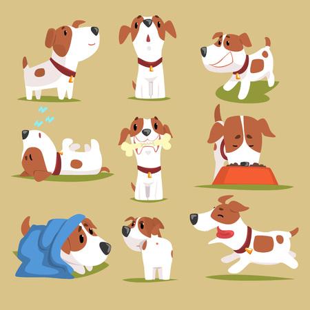 재미 있은 강아지 매일 루틴 세트, 그의 evereday 활동에 귀여운 작은 강아지 다채로운 문자 벡터 일러스트