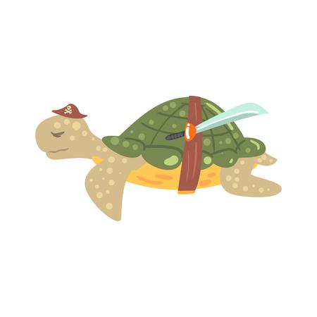 칼으로 모자에 재미있는 만화 거북이 해 적 다채로운 문자 벡터 그림 흰색 배경에