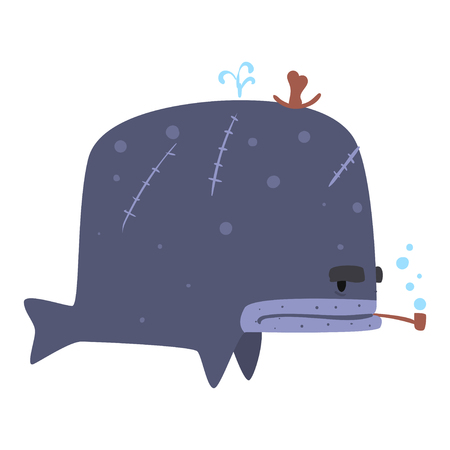 Funny cartoon whale pirate smoking pipe colorful character vector Illustration