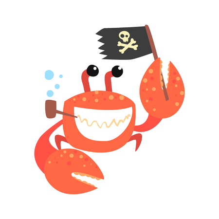 Funny cartoon crab pirate smoking pipe and holding black flag colorful character vector Illustration on a white background