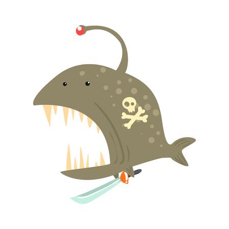 海賊面白い漫画鮟鱇はサインオンその体と剣カラフルな文字ベクトル図  イラスト・ベクター素材