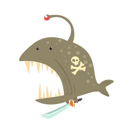 Funny cartoon angler fish with pirate sign on its body and a sword colorful character vector Illustration Illustration