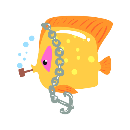 Funny cartoon yellow tang fish with anchor chain colorful character vector Illustration