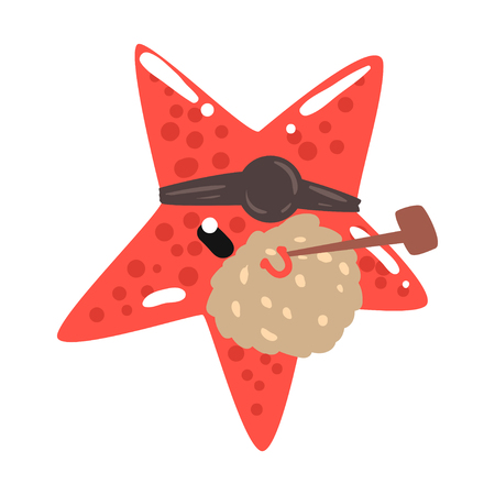 Funny cartoon red starfish pirate with an eye patch smoking pipe colorful character vector Illustration Illusztráció