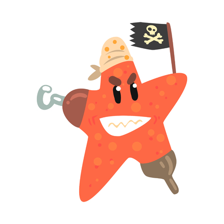 Funny cartoon starfish pirate holding black flag colorful character vector Illustration