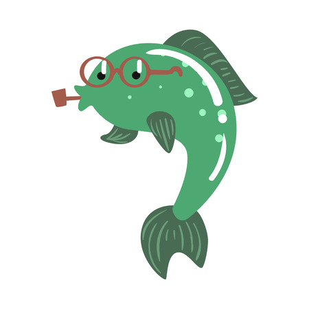 Funny cartoon green fish in glasses smoking pipe colorful character vector Illustration Ilustração