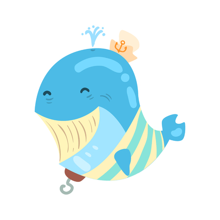 Funny cartoon smiling whale pirate colorful character vector Illustration Stock Vector - 83319127