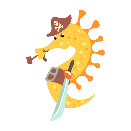 Funny cartoon seahorse pirate in a hat smoking pipe and holding sword colorful character vector Illustration